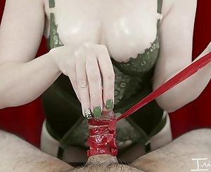 POV Femdom Handjob with a tied cock!