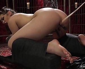 Brunette anal fucked in bullwhips bondage