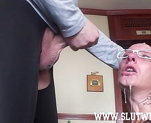 Submissive Bald Headed Sub Girl Enjoys A Brutal Sloppy Facefuck