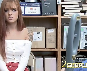 Skimpy Scarlett to the office of mall cop
