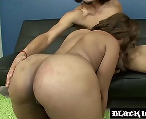 Voluptuous Nikki Moscato stuffs her black vagina with dick