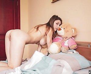 Mila Azul best nude erotic girl model with teddy bear Gosha for Plushies TV