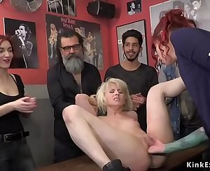 Euro blonde cunt fisted in public bar
