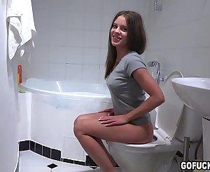 GOFUCKAGIRL - Lita Phoenix bathroom sucking and balls licking Vira Gold