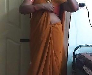 desi  indian horny tamil telugu kannada malayalam hindi cheating wife wearing saree vanitha showing big knockers and shaved pussy press hard knockers press nip rubbing pussy masturbation