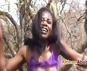 Black babe attempts BDSM and gets pounded