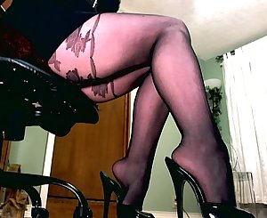 Femdom holding a leather drained