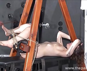 Feet whipping and amateur slave bondage of disciplined bdsm servant Beauvoir in tied sextoys orgasm and foot fetish